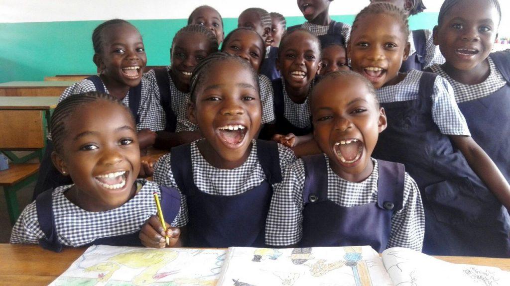 A group of girls in blue school uniforms at Malaika girls school