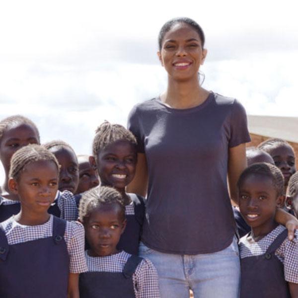 Founder, Noëlla Coursaris Musunka, with girls from Malaika's school. Photo: Malaika