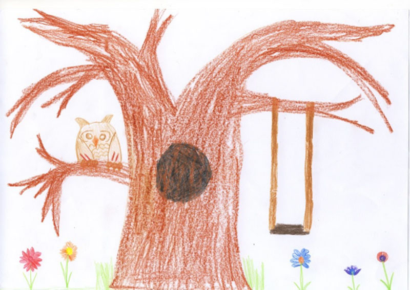 Drawing of bird in tree, by ZS, South Africa.