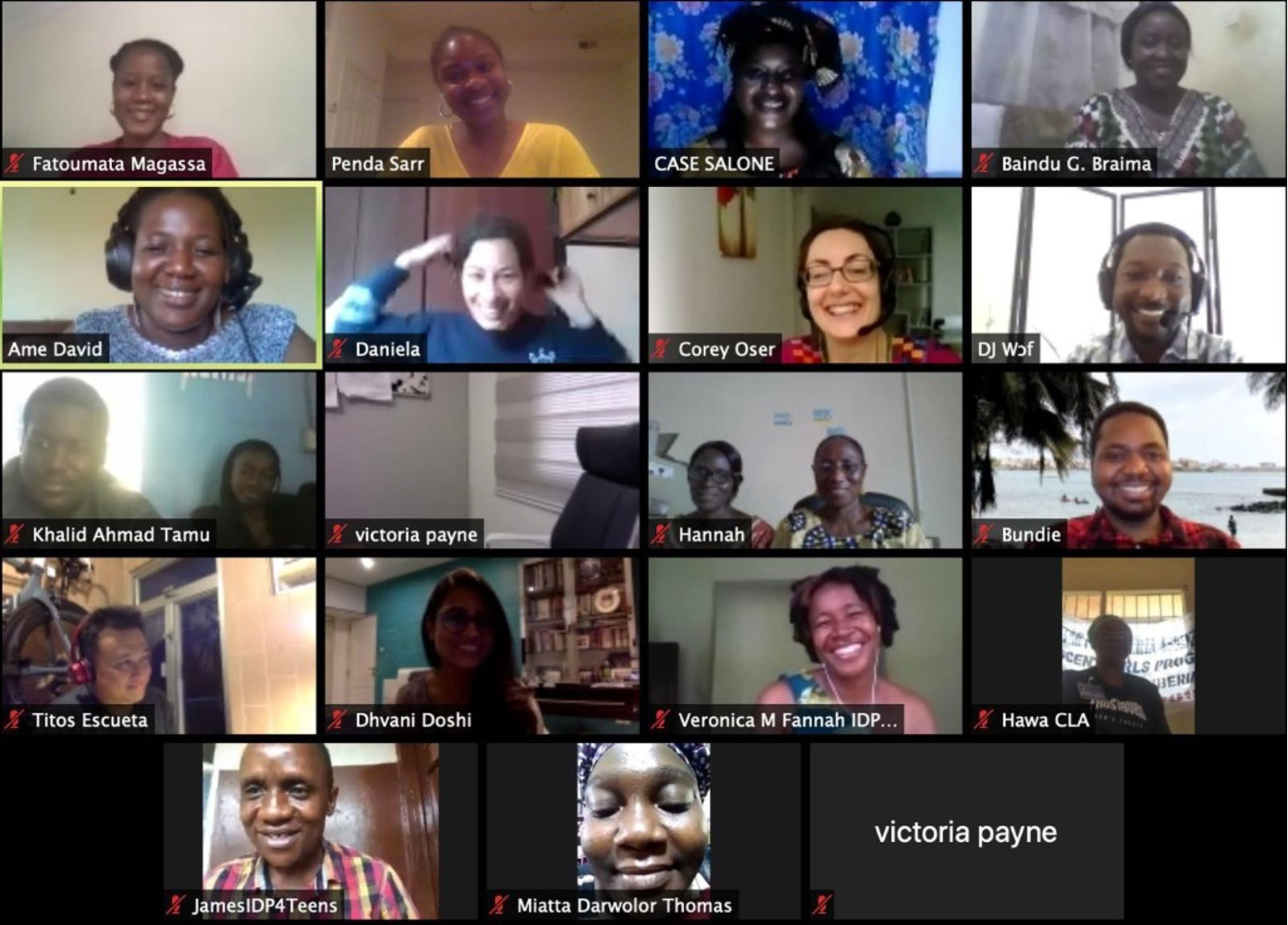 Screenshot of a Zoom video call with GFC staff and partners