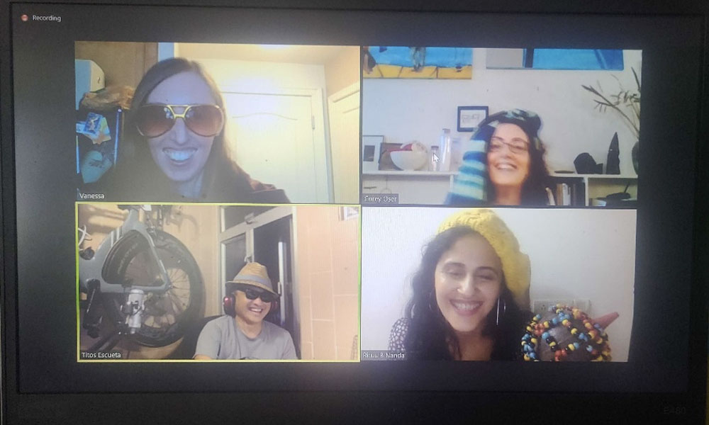 A screenshot of a creative activity during the Zoom meeting.