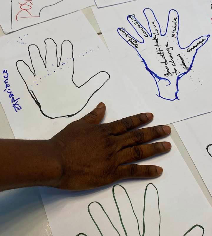 A meeting participants places their hand on drawings of other hands.