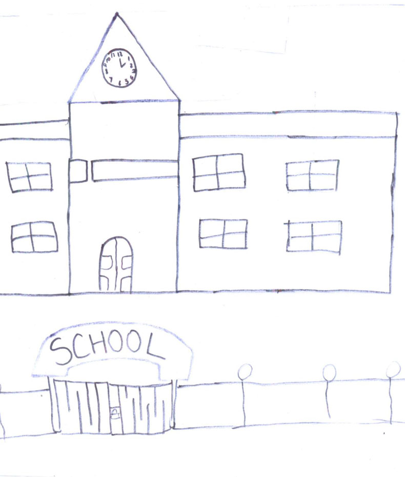 A drawing of a school