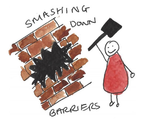Drawing depicting the idea of smashing down barriers.