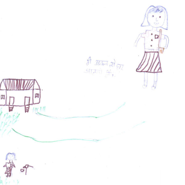 A drawing of a girl going to school