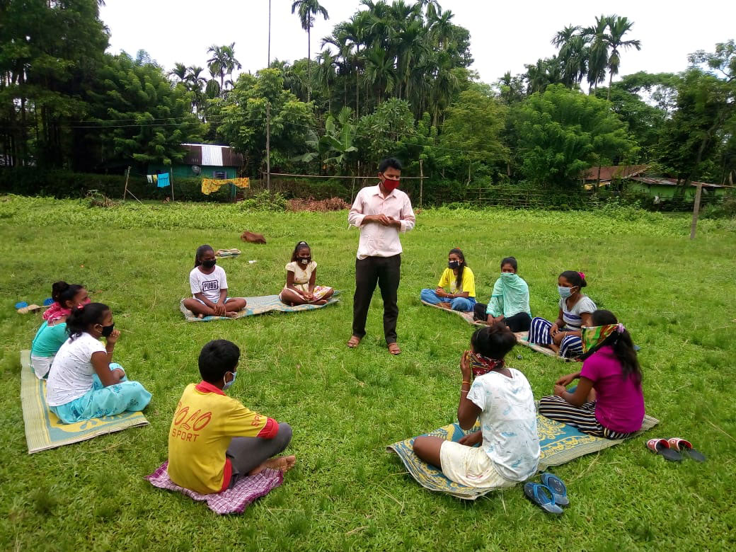 Children attending a session on child rights