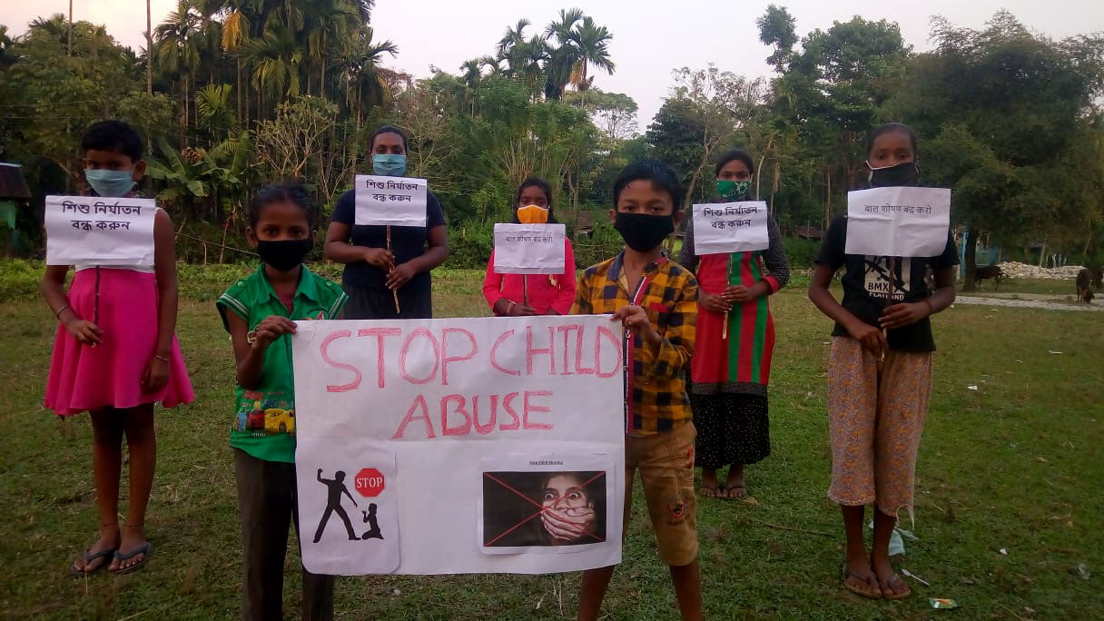 Children campaigning against child abuse